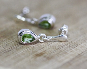 Natural Untreated Peridot Bezel Stud Earrings in Solid Sterling Silver , August Birthstone ,  16th Anniversary , Healing Gem