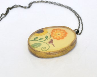 CLEARANCE SALE - Bird Song Vintage Style Floral Deco Hand painted Polymer Clay Pendant Nature Inspired Boho Unique Gift