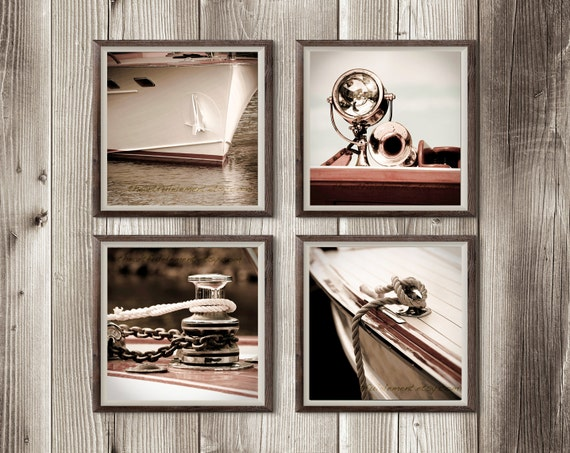 Lake house decor, Nautical artwork, Beach house art, Boat Photography, Set of 4 prints, Large art photo series// Chris Craft yacht series
