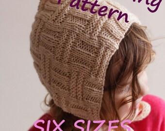 DOWNLOADABLE PDF PATTERN baby bonnet pixie bonnet knitting pattern nb 0-3 3-6 6-12 12-24 months 2-4 years newborn to toddler diy bonnet