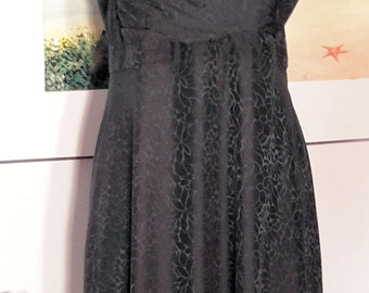 """Vintage 100% Silk Black Tea Leangth Dress, Size 14 - Bust 42"""" in Tailored Upper Bodice, Empire Waist with Flared Skirt, Fully Lined"""