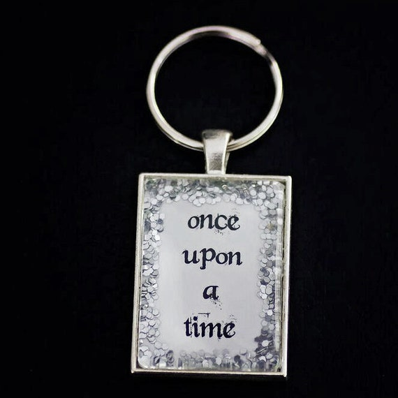 FREE Worldwide Shipping - Glitter Once Upon A Time keyring. Glitter - sparkle - glass - silver - keychain - storybook -