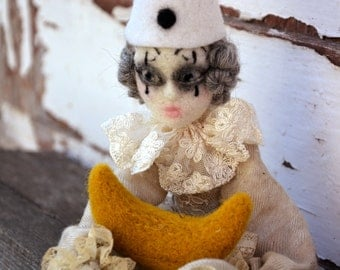 Pierrot et la lune  art doll Pierrot and the moon needle felted marionette, whimsical ooak art doll, for romantic hearts