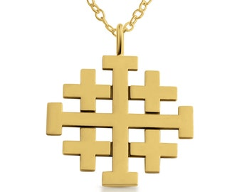 Jerusalem Crusaders Cross 5 Greek Crosses Medieval Religious Charm Pendant Necklace #14K Gold Plated over 925 Sterling Silver #Azaggi N0188G
