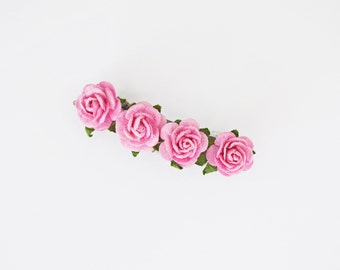 Tiny Cute Pink Rose Barrette - Spring and Summer Hair Accessories, Rose Hair Barrette, Rose Hair Accessories, Flower Hair Clip