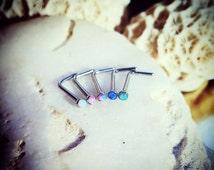 Opal Nose L Studs | 20G Gem Nose Stud Blue Opal Stud Lilac Stud Pink Gem White Opal Nose Screw Bar Nose Bone Stud Pink Nose Stud Indian Ring