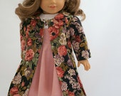 Reserved for S.K. 18 inch American Girl Doll Clothing. Hand Embroidered 50's style Dress, Flannel Coat and Hat, Purse