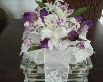 Wedding Centerpiece (Sample Shown), Floral Table Arrangement, Lighted Glass Block, Flowers, Home Decor, Reception Centerpiece, Shower