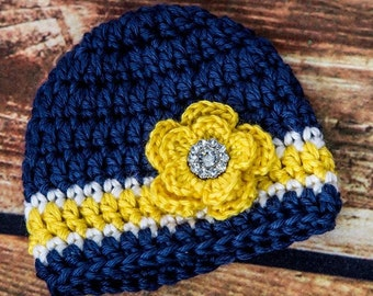 Blue and Yellow Girls Newborn Hat - Chunky Blue hat with Yellow Flower and Rhinestone Button - Gift or Photo Prop