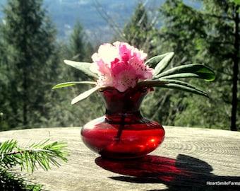 Anchor Hocking Royal Ruby Crimped Bud Vase - 4 Available