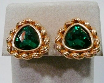Vintage S.A.L. Swarovski Clip On Gold Tone Metal And Green Glass Earrings