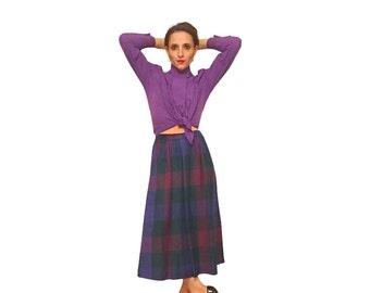 purple plaid skirt / 70s vintage barry bricken skirt retro plaid midi skirt / secretary skirt / size x-small