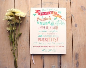 wedding guest book bucket list guestbook custom guest book fun guestbook blank