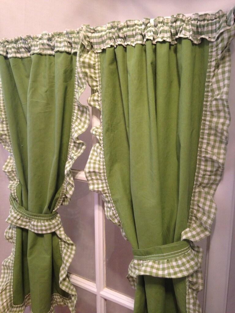 Retro Avocado Green Gingham Ruffled Cafe Kitchen Curtain
