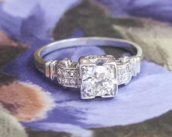 Vintage Art Deco 1930's Old European Cut Diamond Engagement Wedding Anniversary Ring Platinum