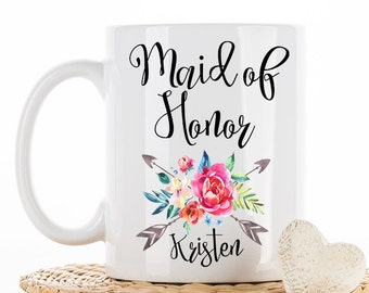 Maid of Honor Mug, Wedding Gift, Wedding Party, Bridesmaids