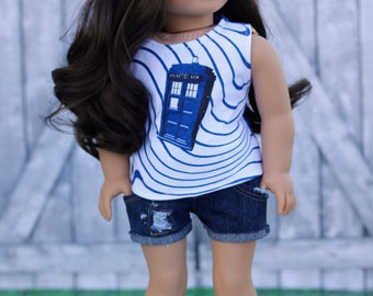 RESERVED for Jennifer H ** Doctor Who TANK TOP with Jean Shorts 18 Inch Dolls such as American Girl Doll Clothes