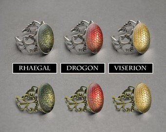 Game of Thrones dragon egg ring – Khaleesi Mother of Dragons – Viserion – Rhaegal – Drogon – Daenerys Targaryen cosplay jewelry / jewellery