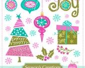 Merry Christmas / Season's Greetings / Whimsical Christmas Clip Art / Whimsical Tree / Christmas Ornaments / Joy Word - Instant Download