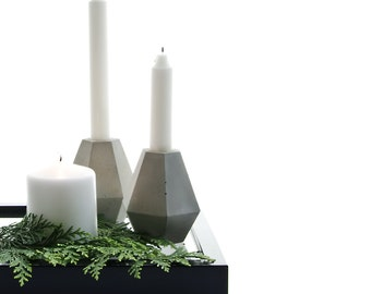 Concrete Diamond Candleholder, cement diamond decor, geometric christmas concrete home decor, handcrafted diamond beton sculptures