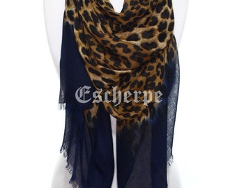 Leopard Print Navy Woman Scarf Lightweight Womens Fashion Accessory Christmas Gift Ideas For Her Mom Girlfriend