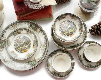 Four (4) Transferware Soup Bowls w Scenic Autumn Pictural Serving Pieces, Meadow Pattern, Japan
