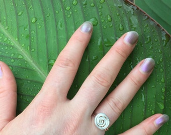 Silver Plate Large Rosette Flower Bud Wire Wrap Ring