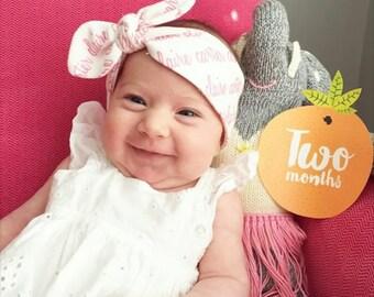 Personalized Newborn Headband. Knot Headband. 100% organic cotton. Baby Headband, Wide Knot Headband.  Infant headband.