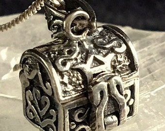 Prayer Box/Wish Box Locket Charm - Signed Vintage/Antique Sterling Silver Magical Treasure Necklace And Vintage Chain