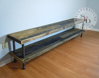 Reclaimed Wood Tv Stand - Pallet Wood Media Stand, TV Console, Console Table, TV Media, Pipe Legs - SALE