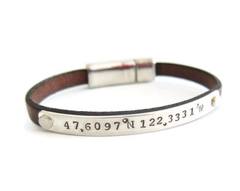 Custom Coordinate Silver Leather Bracelet, Latitude Longitude Bracelet, Personalized GPS Coordinates, Bridesmaid Gift for Her, Wedding Gift