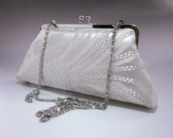 Silver Clutch/Vintage Kimono Obi clutch/ Wedding clutch/ Purse/2