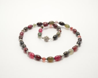 Natural stone necklace, multi-colored agate necklace, beaded necklace, semi-precious stone, agate necklace, stone necklace