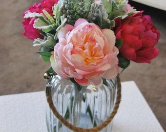 Artificial Silk Peony Arrangement in Hurricane Glass Vase