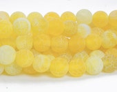yellow dragon vein agate beads - golden crakle agate gemstone beads - frosted agate round beads -  round agate beads - size 6-14mm -15inch