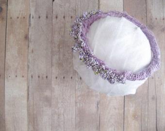 Newborn Flower Crown, Floral Crown Baby, Newborn Halo Headband, Baby Head Wreath, Newborn Photo Prop