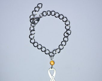 Leukemia Awareness Ribbon Bracelet - Leukemia Support, Survivor, Memorial Jewelry