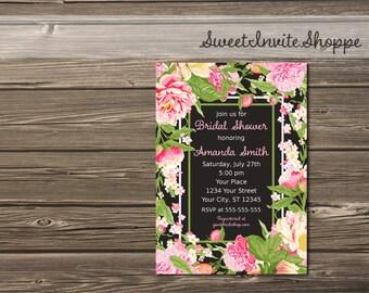 Pink Peony Bridal Shower Invitation, Floral Wedding Shower Invitation, Rustic Chalkboard Pink Floral Bridal Shower Invite, Printable File