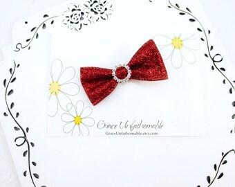 Red Glitter Hair Clip, Glitter Hair Bow, 3 or 4  Inch Red Hair Bow, Rhinestone Hair Clip