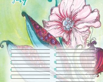 Perpetual Calendar, birthday calendar, wedding guest book, special event, colorful, FREE custom name