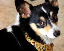 Dog over-the- collar style bandana with cute dog bones print