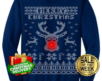UGLY CHRISTMAS SWEATER - Light Up - Ugly Christmas Sweater party - men, Ladies, unisex in Black, Dark Green, Navy, Red, Hot Pink  s - 3xl