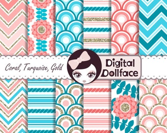 Spring / Summer Digital Paper, Coral and Turquoise Wedding Digital Paper w/ gold accents