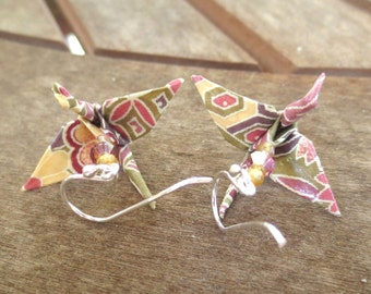 Origami Earring, Crane Earring, Asian Jewelry, Asian Earring, Japanese Jewelry, Japanese Earring, Cute Earring, Paper Earring, Colorful