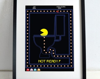 Computer Game Hero Pac-Man, Pacman On the Toilet Poster Wall Art Hanging Print Home Décor