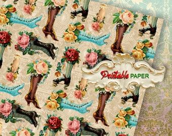 LADY BOOTS - Printable wrapping paper for Scrapbooking, Creat - Download and Print