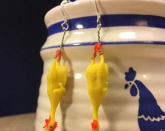 Rubber Chicken Charm Earrings