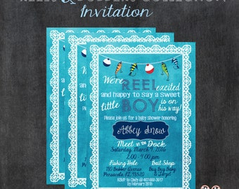 REELS & BOBBERS COLLECTION; Baby Shower Invitation; Baby Boy; Fishing Theme; Bobbers, Lures, Lace; Watercolor Background; Digital Download