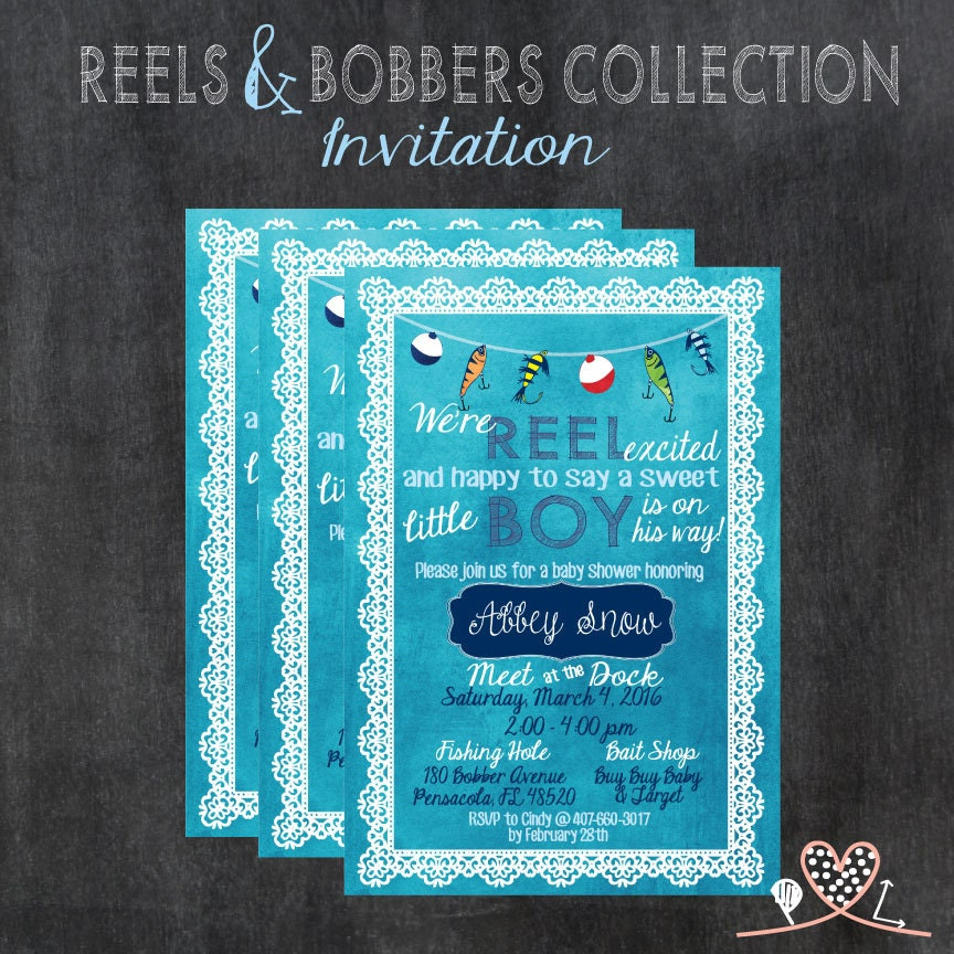 Fish Themed Baby Shower Invitations: REELS & BOBBERS COLLECTION Baby Shower Invitation Baby Boy