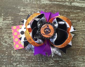 Halloween Hair Bow - Halloween Headband - Halloween Outfit - Spider - My First Halloween - Orange - Black - Halloween Hair Clip